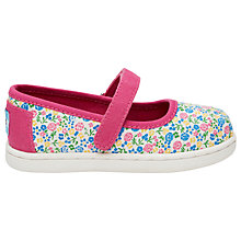 Buy TOMS Children's Mary-Jane Floral Shoes, Fuchsia Online at johnlewis.com