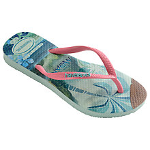 Buy Havaianas Children's Slim Moana Flip Flops, Green/Multi Online at johnlewis.com