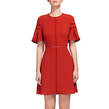 Buy Whistles Estrella Fluted Sleeve Dress, Burnt Orange Online at johnlewis.com