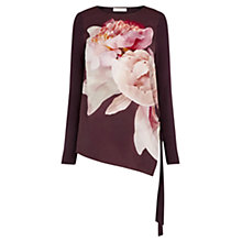 Buy Oasis Digital Peony Asymmetric Tunic Top, Burgundy Online at johnlewis.com