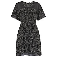 Buy Whistles Avril Lace Dress With Fluted Sleeves, Black / Multi Online at johnlewis.com