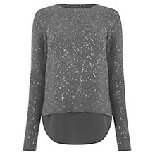 Buy Oasis Petal Back Sequin Knit Top, Mid Grey Online at johnlewis.com
