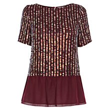 Buy Coast Amiath Sequin Peplum Top, Merlot Online at johnlewis.com