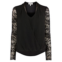 Buy Coast Alvara Lace Sleeve Top, Black Online at johnlewis.com
