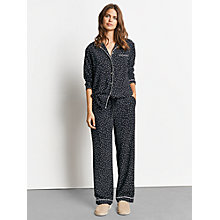 Buy hush Piped Silk Pyjamas, Black/Ecru Star Print Online at johnlewis.com
