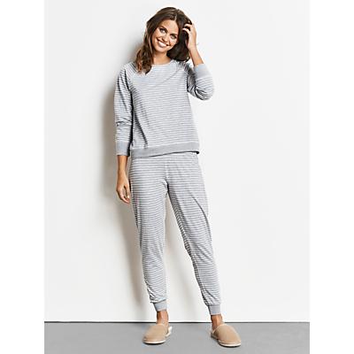 hush Jersey Stripe Pyjama Set, Grey Marl/Ecru