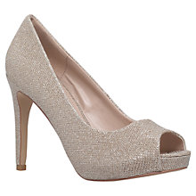 Buy Carvela Lara 2 Occasion Peep Toe Court Shoes, Silver Online at johnlewis.com