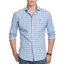 Buy Polo Ralph Lauren Standard Fit Plaid Cotton Oxford Shirt, Azure/Navy Online at johnlewis.com