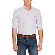 Buy Polo Ralph Lauren Check Relaxed Fit Shirt, Pink/White Online at johnlewis.com