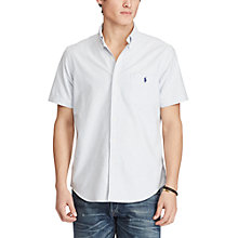 Buy Polo Ralph Lauren Standard Fit Short Sleeve Striped Oxford Shirt, Blue/White Online at johnlewis.com