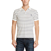 Buy Polo Ralph Lauren Striped Slim Fit Stretch Cotton Mesh Polo Shirt, White/Newport Navy Online at johnlewis.com