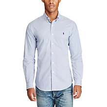 Buy Polo Ralph Lauren Slim Fit Poplin Button-Down Check Shirt, Blue/White Online at johnlewis.com