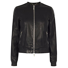 Buy Karen Millen Leather Bomber Jacket, Black Online at johnlewis.com