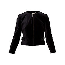 Buy Ted Baker Mifna Cropped Velvet Bow Jacket, Black Online at johnlewis.com