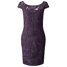 Buy Jacques Vert Waterfall Detail Dress, Purple Online at johnlewis.com