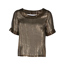 Buy Yanny London Foil Silk T-Shirt, Gold Online at johnlewis.com