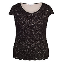 Buy Chesca Scallop Trim Lace Top, Black Online at johnlewis.com