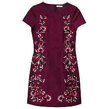Buy Precis Petite Dianne Embroidered Dress, Dark Red Online at johnlewis.com