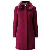 Buy Jacques Vert Petite Glamour Faux Fur Collar Coat, Purple Online at johnlewis.com