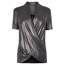 Buy Karen Millen Metallic Wrap Top, Pewter Online at johnlewis.com