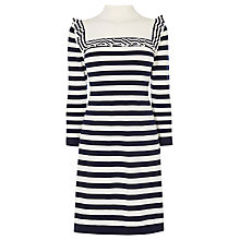Buy Karen Millen Stripe Frill A-Line Dress, Blue/Multi Online at johnlewis.com