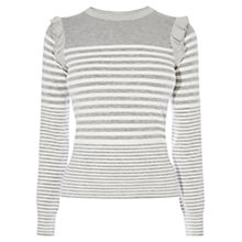 Buy Karen Millen Stripe Frill Top, Grey/Multi Online at johnlewis.com