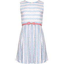 Buy Yumi Girl Stripe Lace Dress, Pale Blue Online at johnlewis.com