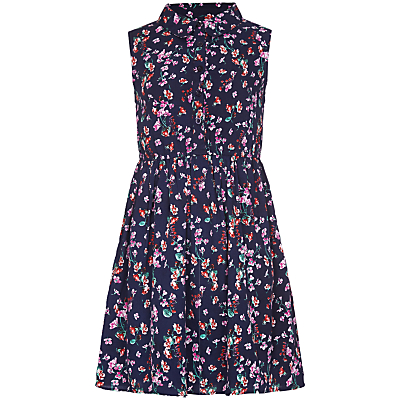 Yumi Girl Ditsy Floral Shirt Dress, Navy.