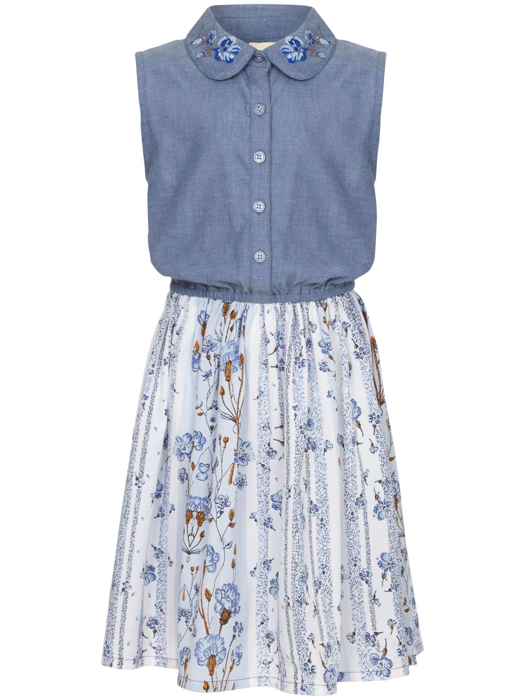 Yumi Yumi Girl Floral Chambray Dress, Blue