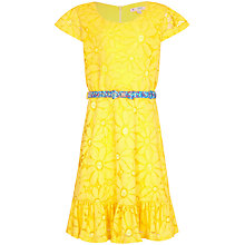 Buy Yumi Girl Floral Lace Frill Dress, Yellow Online at johnlewis.com