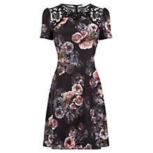 Buy Oasis Gothic Bloom Lace Skater Dress, Multi/Black Online at johnlewis.com