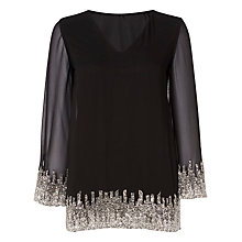 Buy Raishma Embroidered V-Neck Tunic Top, Black Online at johnlewis.com