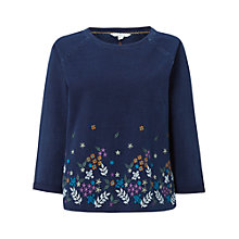 Buy White Stuff Floral Embroidered Hem Sweatshirt, Denim Online at johnlewis.com