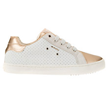 Buy Geox Children's Kiwi Trainers, White/Gold Online at johnlewis.com