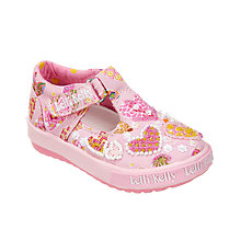 Buy Lelli Kelly Children's Angel Heart Rip-Tape T-Bar Shoes, Pink Online at johnlewis.com