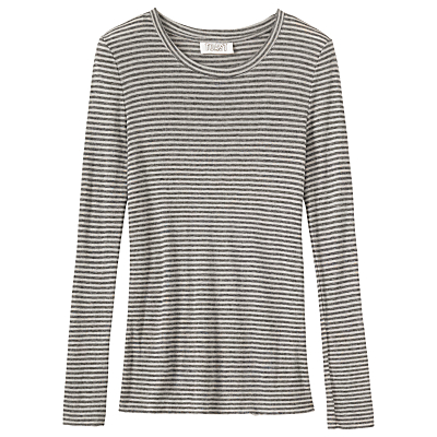 Toast Block Stripe Wool Tencel T-Shirt, Charcoal/Ecru