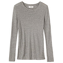 Buy Toast Block Stripe Wool Tencel T-Shirt, Charcoal/Ecru Online at johnlewis.com