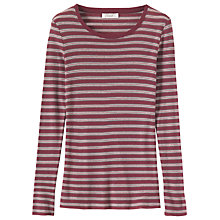 Buy Toast Fine Wool Tencel Stripe T-Shirt, Mulberry Multi Online at johnlewis.com