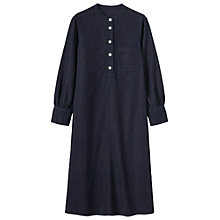 Buy Toast Collarless Denim Shirt Dress, Indigo Online at johnlewis.com