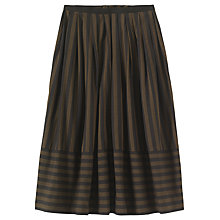 Buy Toast Wide Stripe Cotton Skirt, Dark Khaki Brown/Washed Black Online at johnlewis.com