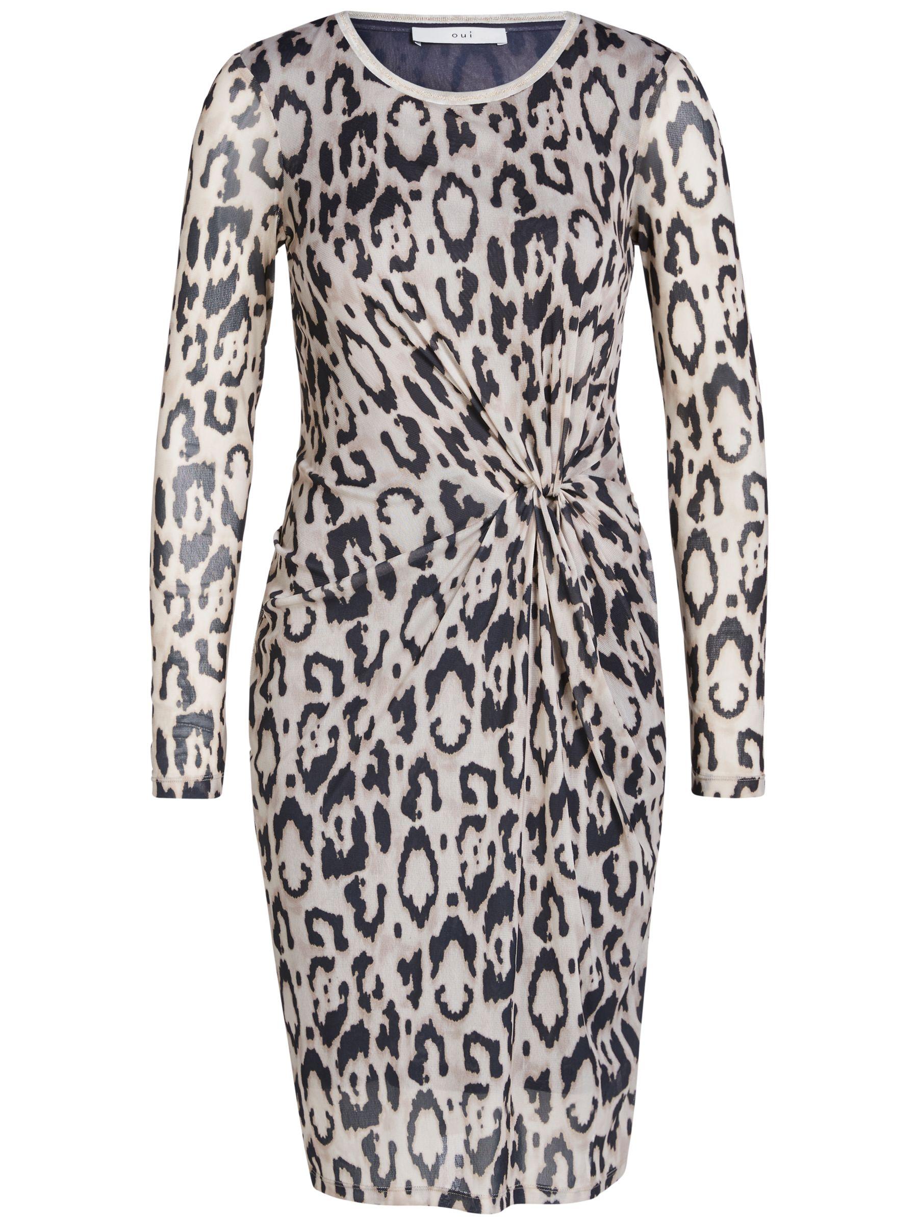 Oui Oui Animal Print Dress, Camel/Grey