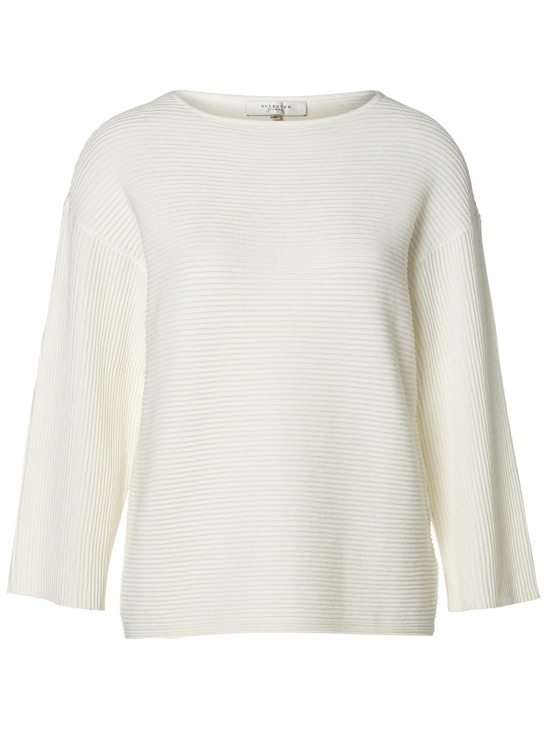 Selected Femme Selected Femme Aura Ribbed Jumper, Snow White
