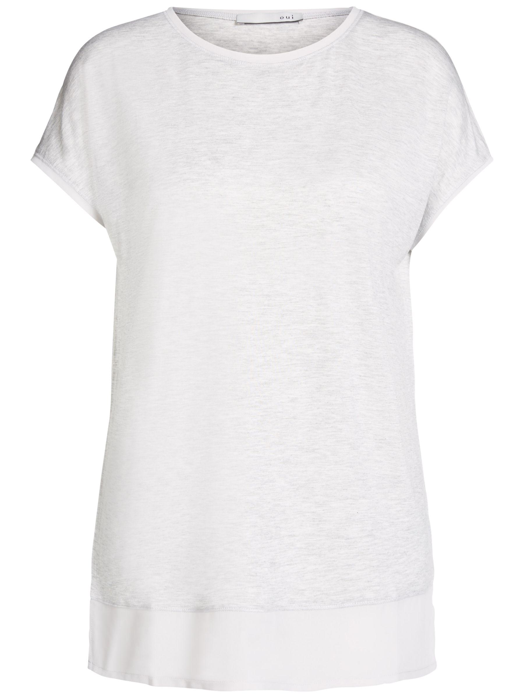 Oui Oui Contrast T-Shirt, Light Grey/White