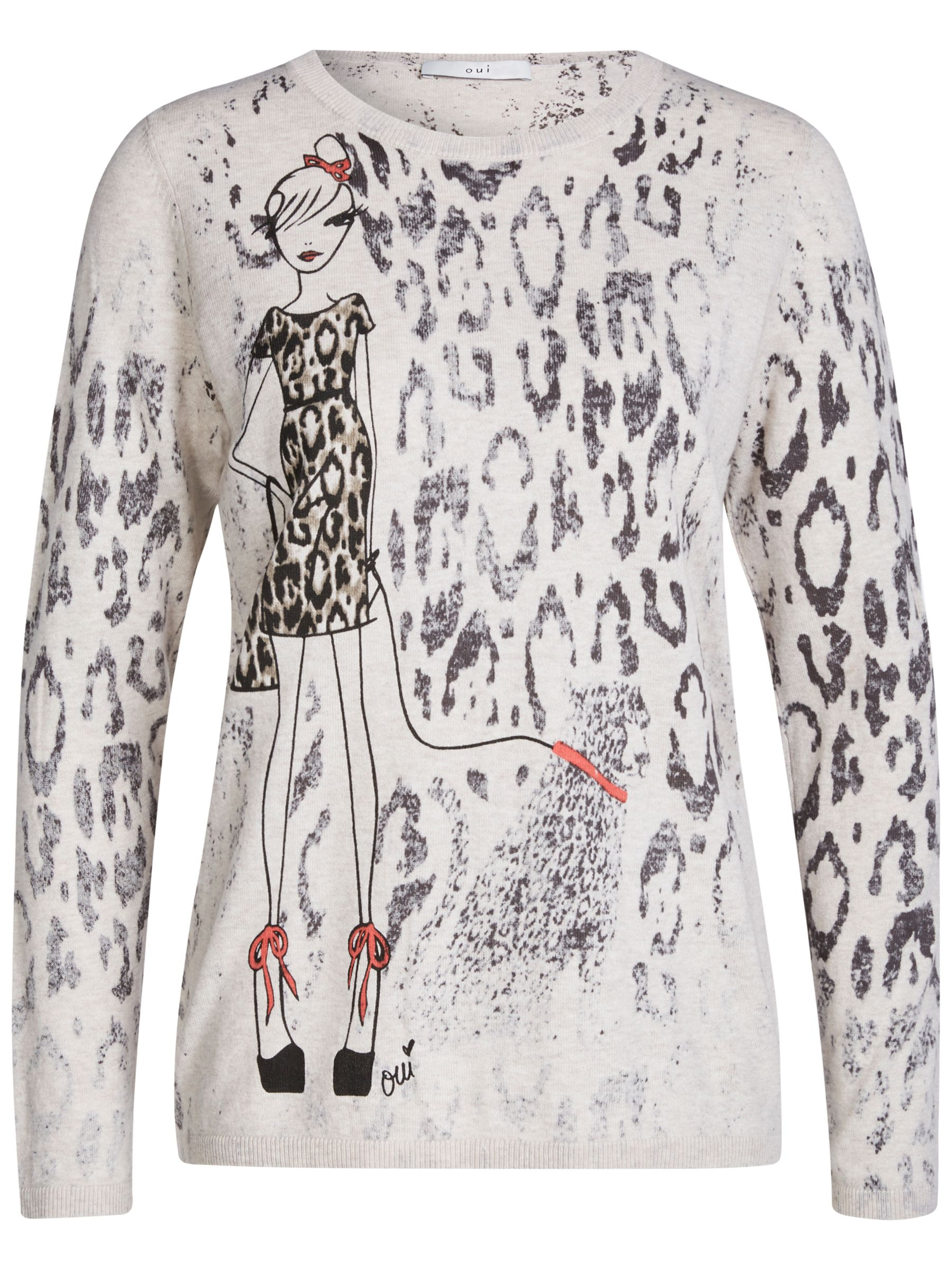 Oui Oui Lady Shipping Knit Jumper, Camel/Grey