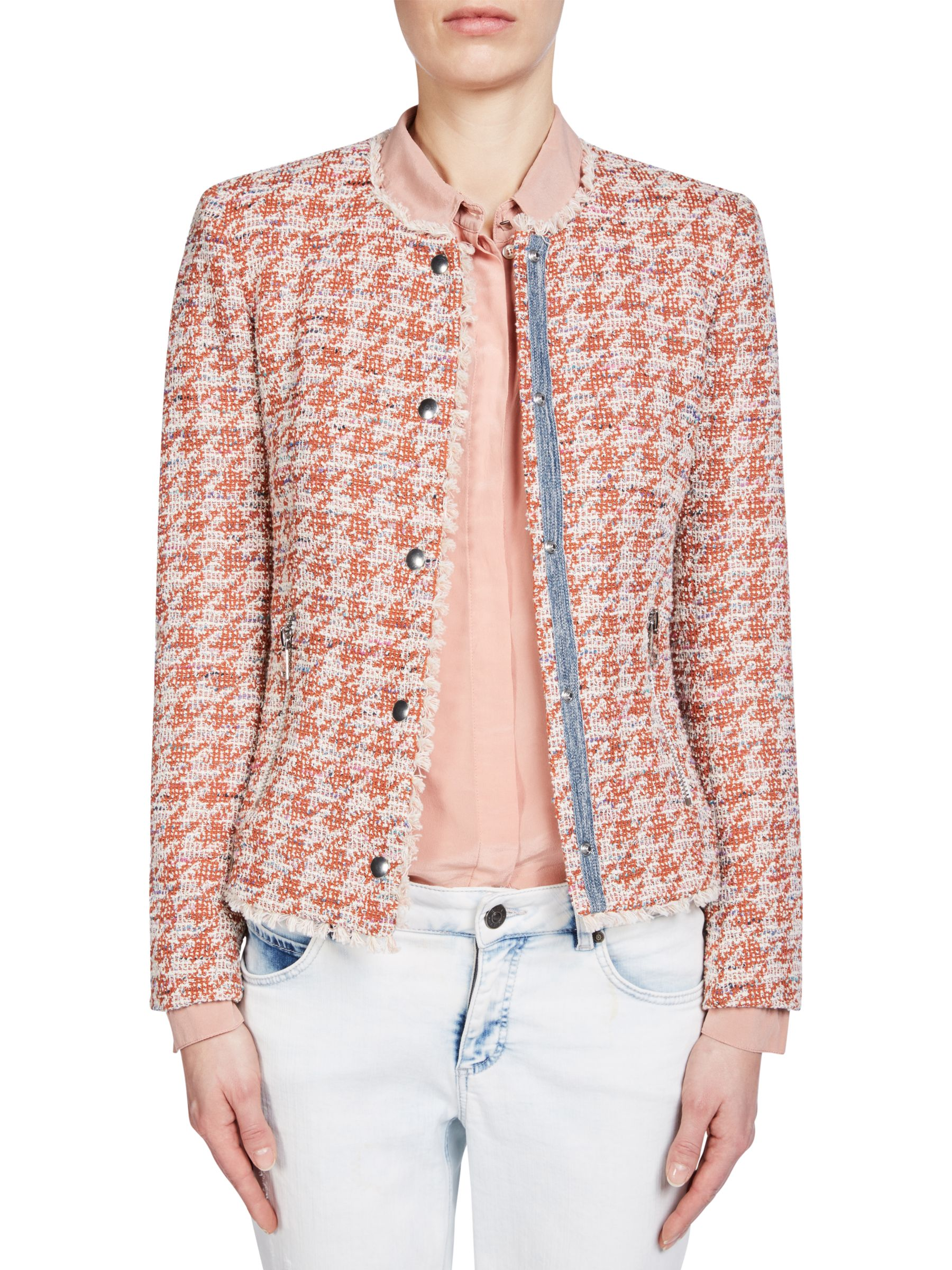 Oui Oui Tweed Jacket, Red/Off White