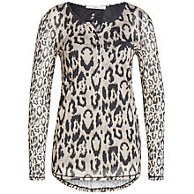 Buy Oui Double Layer Animal Print T-Shirt, Camel/Grey Online at johnlewis.com