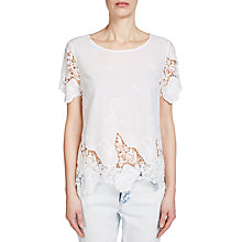 Buy Oui Lace Cotton Top, White Online at johnlewis.com