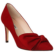 Buy L.K. Bennett Caitlyn Bow Stiletto Heeled Court Shoes, Roca Red Suede Online at johnlewis.com