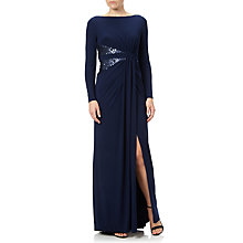 Buy Adrianna Papell Long Sleeve Jersey Gown, Midnight Online at johnlewis.com