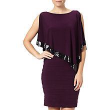 Buy Adrianna Papell Capelet Banded Dress, Plum Wine Online at johnlewis.com